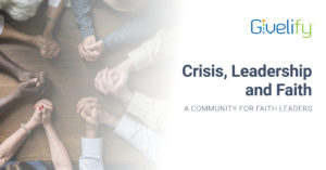 hands interlocking and fading to white with the words crisis faith leadership