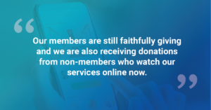 quote testimonial about online giving in church during covid-19