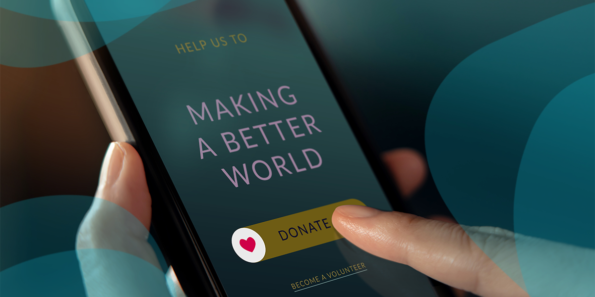 """Image of someone pressing """"donate"""" within the Givelify Mobile App"""