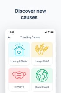 Image of our causes feature (for fundraising for nonprofits) on the Givelify app