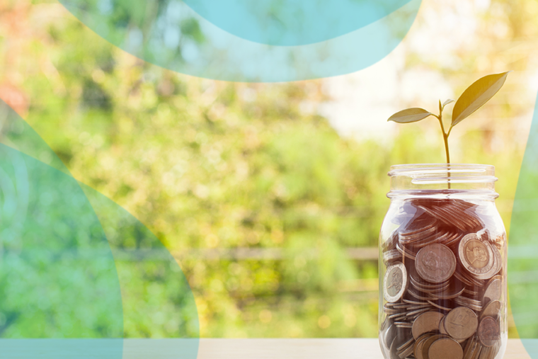 Mason jar filled with money, (from donation kiosks)