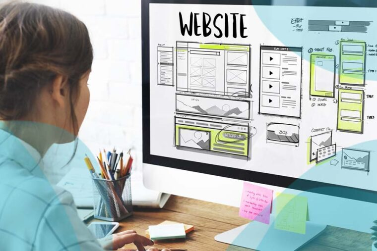 a person designing a website
